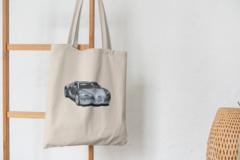 Сумка-шоппер с принтом Bugatti Veyron (Бугатти Вейрон) бежевая 009