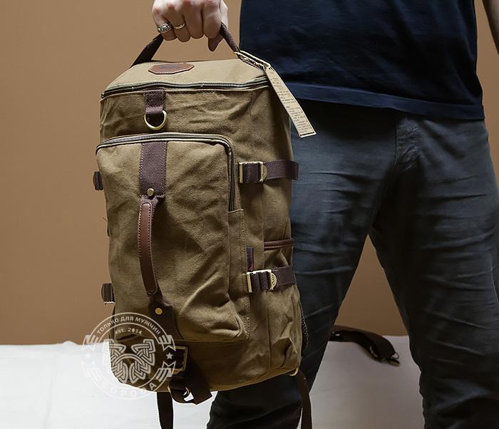 BAG368-2 Стильная и вместительная сумка рюкзак с ремнем на плечо фото 05