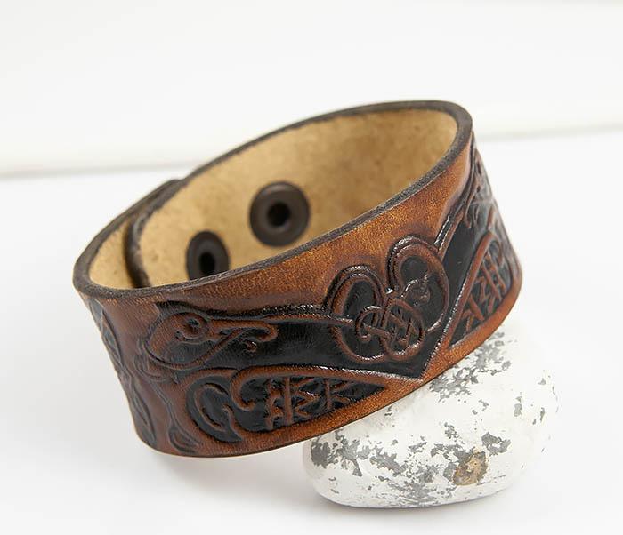 BL479 Мужской кельтский браслет «Птицы» ручной работы
