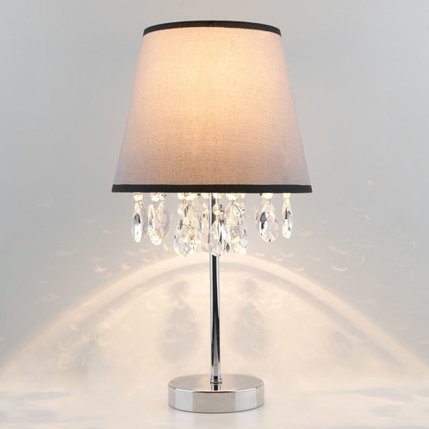 Настольная лампа с хрусталем 01036/1 хром/прозрачный хрусталь Strotskis