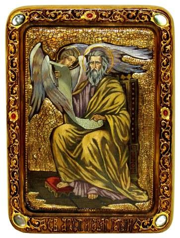 Инкрустированная живописная икона Святой апостол и евангелист Матфей 29х21см на натуральном дереве в подарочной коробке