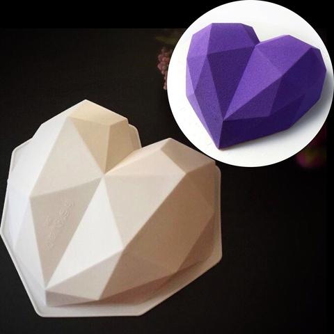 Силиконовая форма для выпечки Сердце кристалл-торт (Диаметр 19 см , Высота 6см)