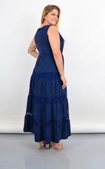 Аманда. Довга сукня-сарафан для повних з мереживними вставками. Синій.