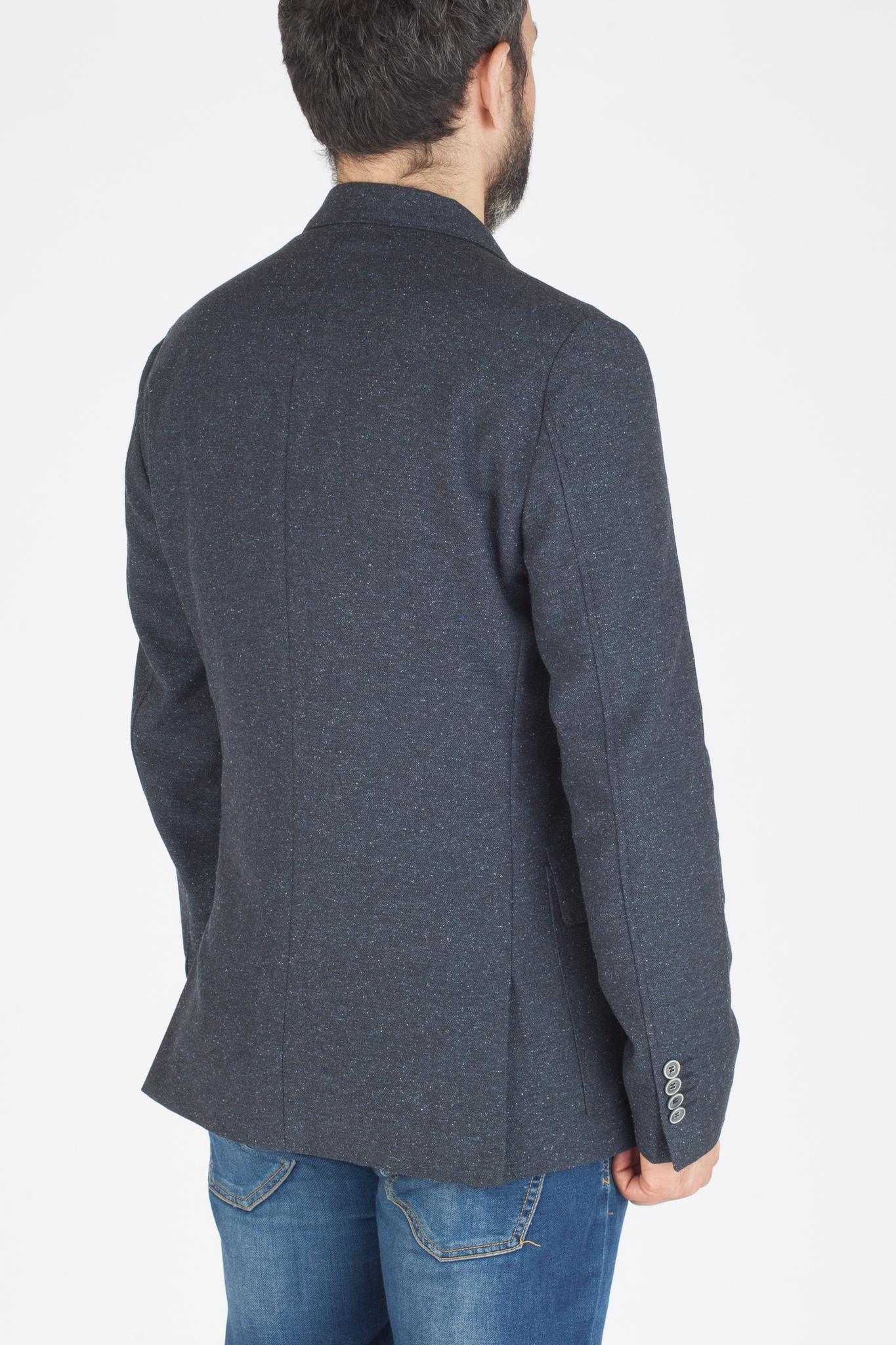 Тёмно-синий пиджак из шерсти, хлопка, шёлка и синтетики