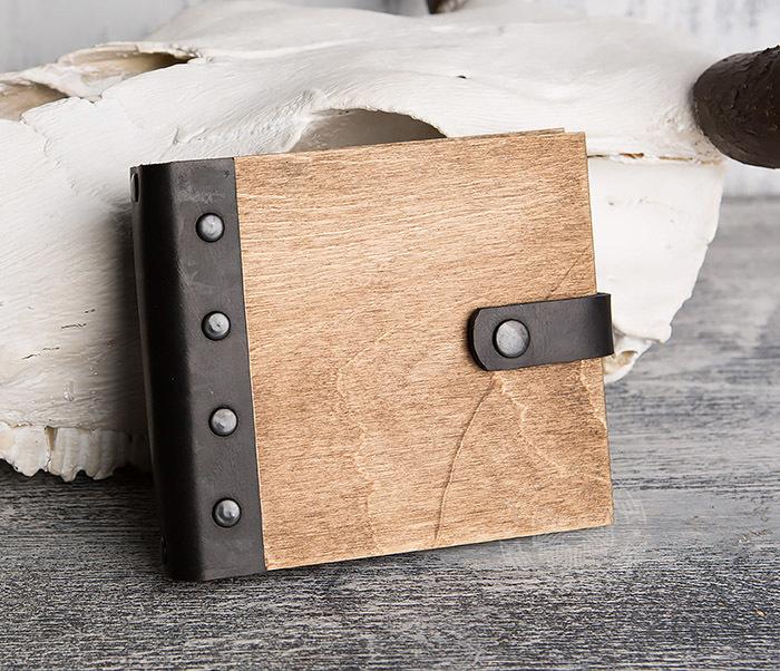 BC127-2 Деревянный блокнот ручной работы с крафт бумагой
