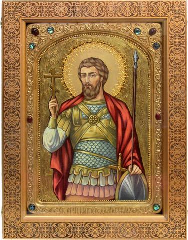 Большая Живописная икона Святой мученик Виктор Дамасский 42х29см на кипарисе в березовом киоте