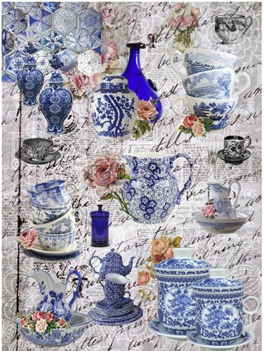 Рисовая бумага для декупажа Голубая посуда, А3