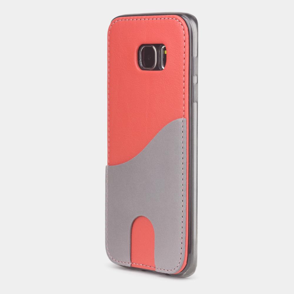Чехол-накладка Andre для Samsung S7 edge из натуральной кожи теленка, кораллового цвета