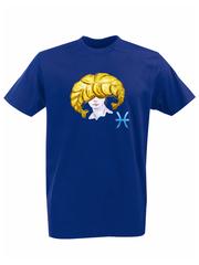 Футболка с принтом Знаки Зодиака, Рыбы (Гороскоп, horoscope) синяя 001