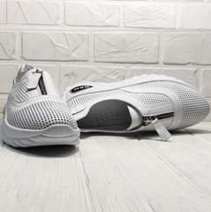 Перфорированные кроссовки женские без шнурков Wollen P029-259-02 All White.