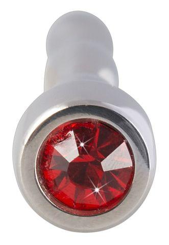Серебристый уретральный плаг с кристаллом в основании - 7,1 см.