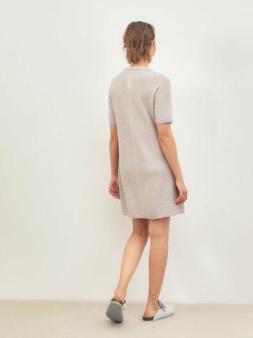 Женское платье светло-кофейного цвета из вискозы - фото 4
