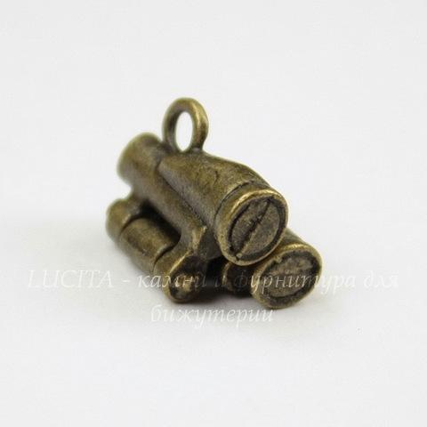 """Подвеска 3D """"Бинокль"""" 17х14 мм (цвет - античная бронза)"""