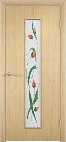Дверь Верда С-21, стекло Сатинато (Изумруд), цвет беленый дуб, остекленная