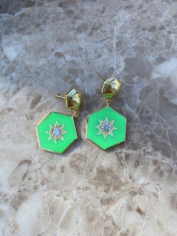 Серьги Сириус из позолоченного серебра с зеленой эмалью