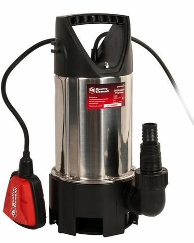 Дренажный насос QUATTRO ELEMENTI Drenaggio  750 F Inox (750 Вт, 12000 л/ч, для грязной, 7.5 м, 5,0 кг, нерж.сталь корпуса)