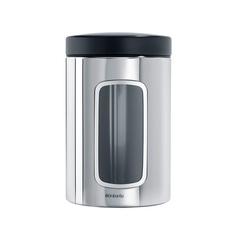 Контейнер для сыпучих продуктов с окном (1,4 л), Стальной полированный