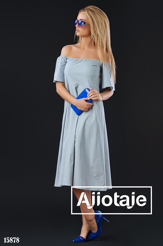 Серое платье А-силуэта с открытыми плечиками