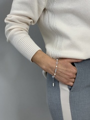 Браслет с голубым хрусталем, жемчугом Swarovski и серебряными бусинами  оптом и в розницу