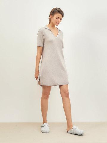 Женское платье светло-кофейного цвета из вискозы - фото 2