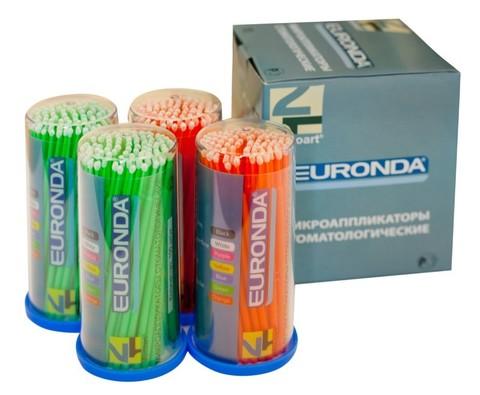 Аппликатор EURONDA №4 2мм 100 шт средний 10см зел+оранж M6500R