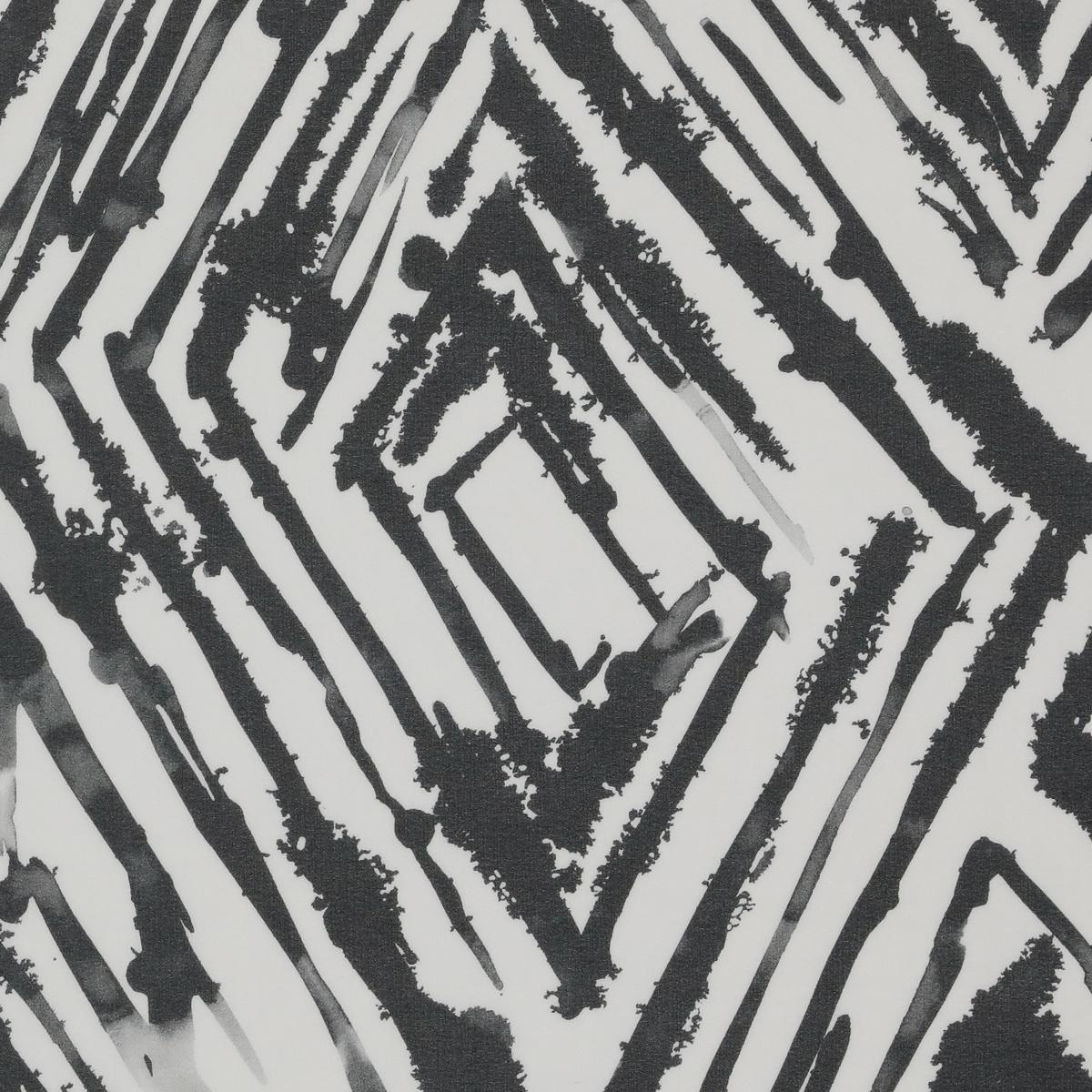 Полупрозрачный шёлковый стретч-крепдешин чёрно-белым узором