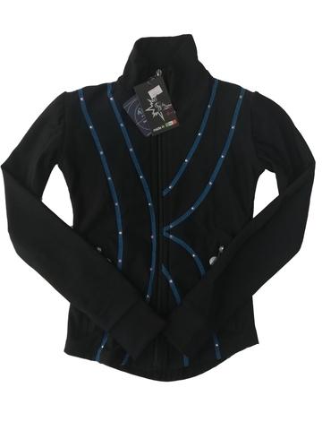 Термокуртка со стразами (черный с голубым)