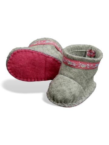 Сапожки-угги из фетра - Серый / розовый. Одежда для кукол, пупсов и мягких игрушек.