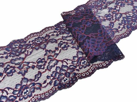 Эластичное кружево, 18,5 см, темно-синее с красной кордовой нитью, (Арт: EK-1085), м