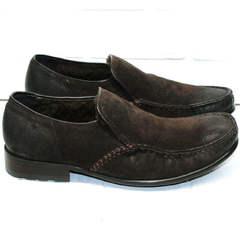 Зимние туфли мужские натуральная кожа Welfare 555841 Dark Brown Nubuk & Fur.