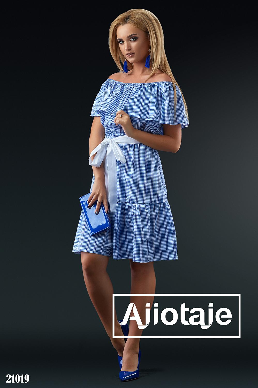 Платье миди в синюю клетку с белым пояском