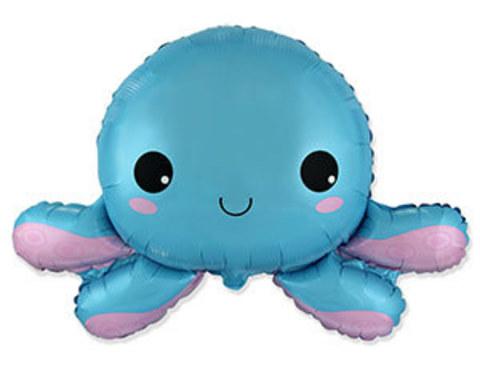 Фольгированный шар Осьминог синий