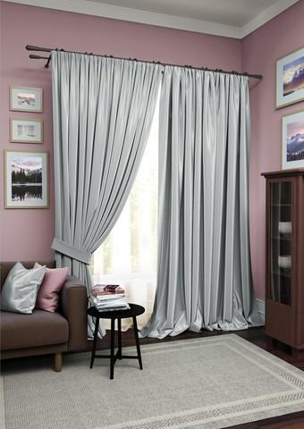 Комплект штор Авери с тюлем серый