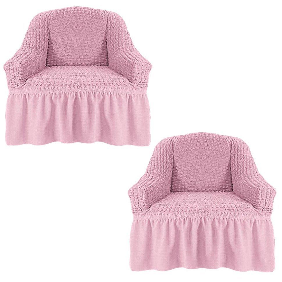 Чехол на два кресла, розовый