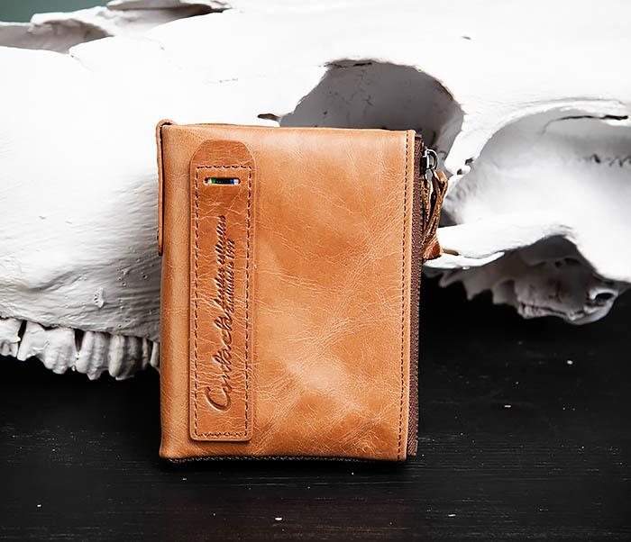 WL250-2 Винтажный мужской кошелек с монетницей на молнии фото 02