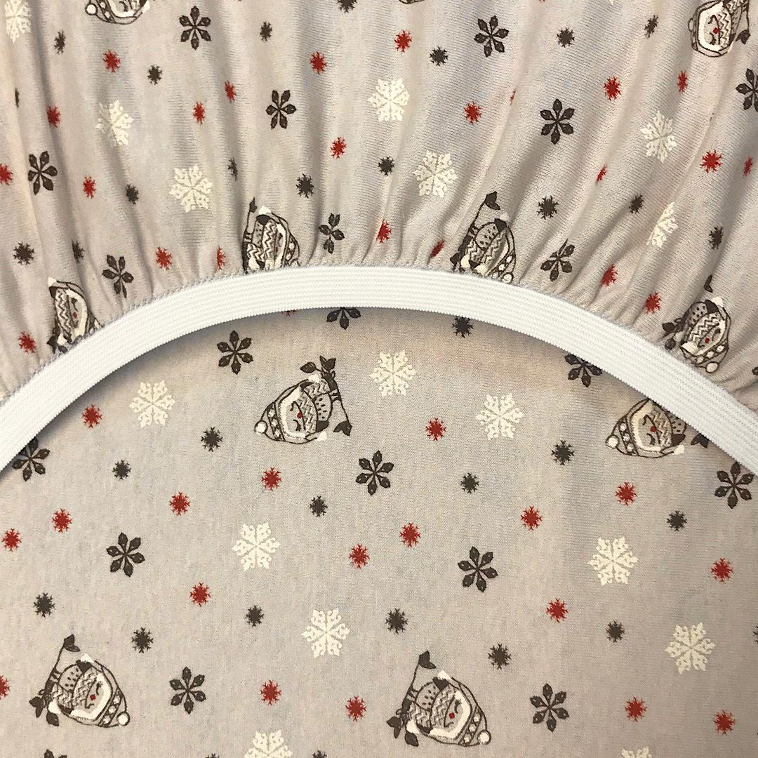 ФЛАНЕЛЬ снегири - детская простыня на резинке 80х170