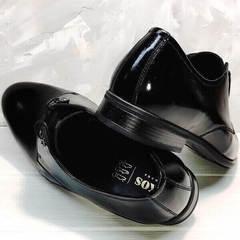 Красивые мужские туфли со шнуровкой лаковые Ikoc 2118-6 Patent Black Leather