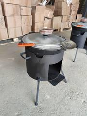 Комплект 8-22 литра, печь-очаг + узбекский казан + шумовка