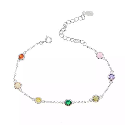 Браслет из серебра с цветными, завальцованнам цирконами