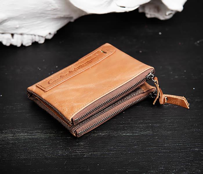 WL250-2 Винтажный мужской кошелек с монетницей на молнии фото 03