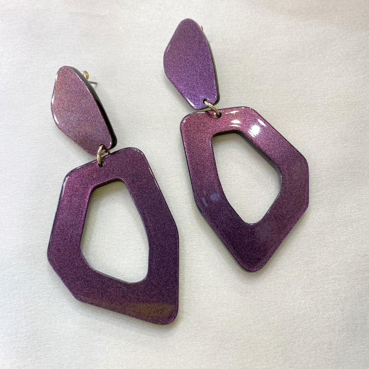 Серьги акриловые (фиолетовый)
