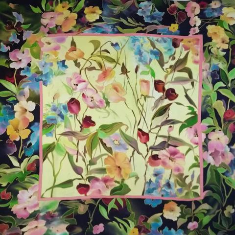 Платок батик Сказочный сад С-74