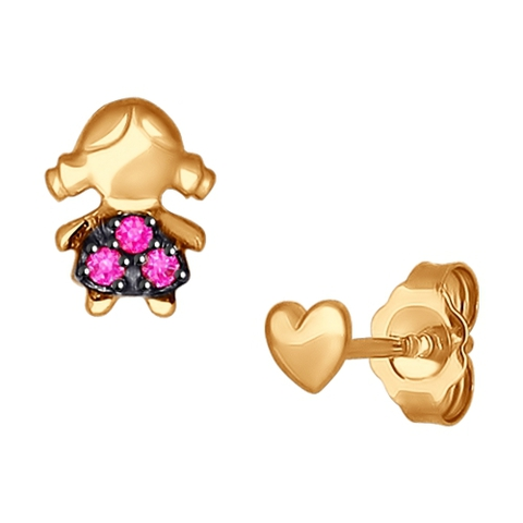 027238- Пусеты из золота в форме девочки с фианитами