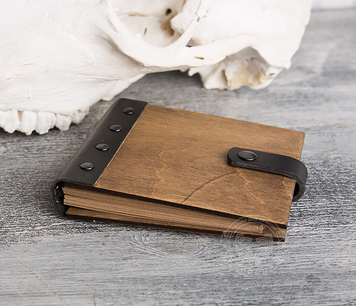 BC127-2 Деревянный блокнот ручной работы с крафт бумагой фото 03