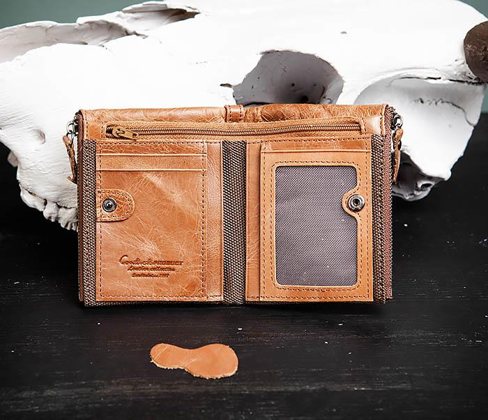 WL250-2 Винтажный мужской кошелек с монетницей на молнии фото 04