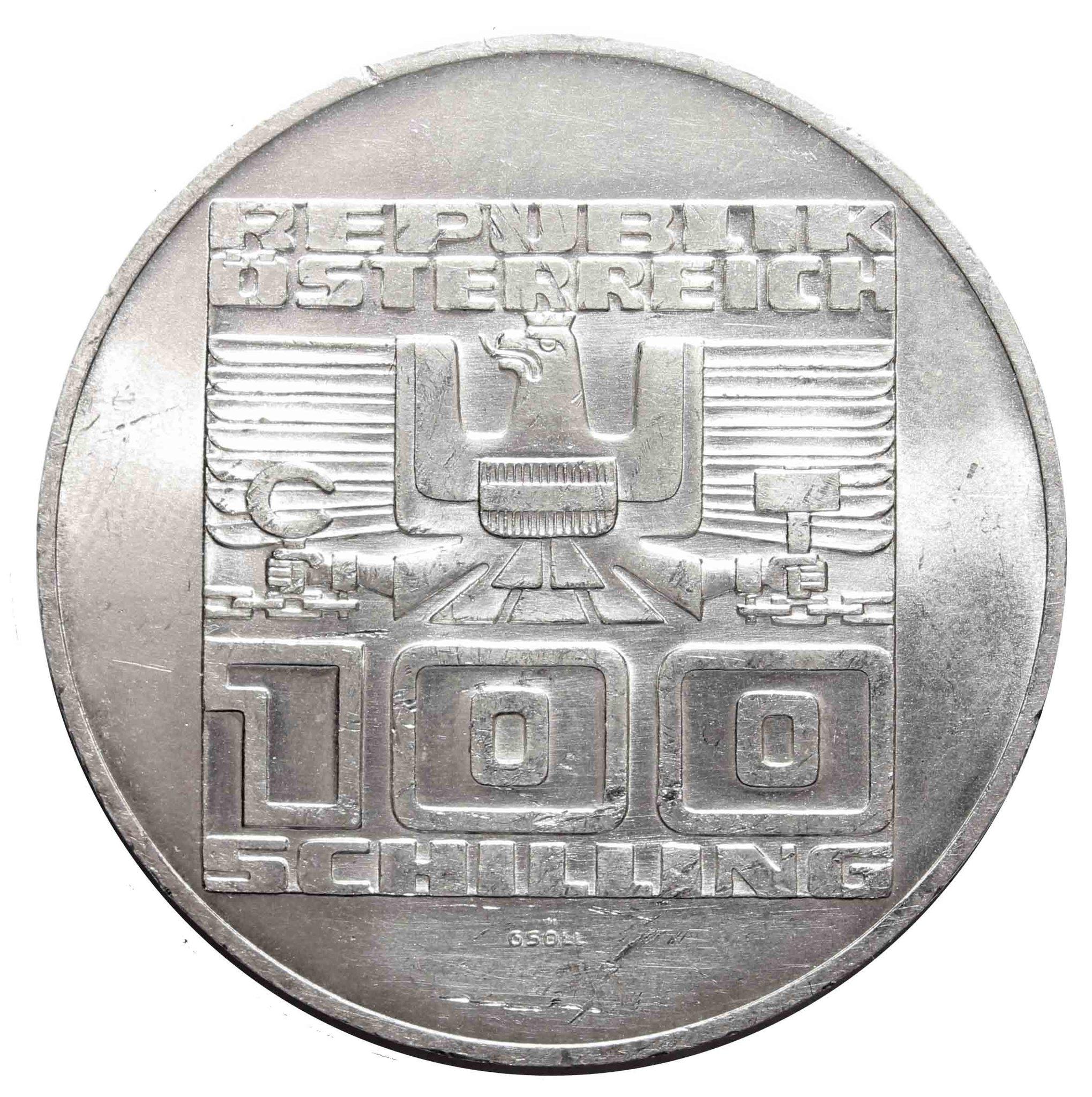 100 шиллингов. 20 лет декларации о независимости Австрии. Австрия. 1975 год. Серебро. AU