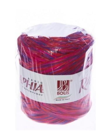Рафия искусственная Микс Италия 200 м Цвет: красный/фиолетовый