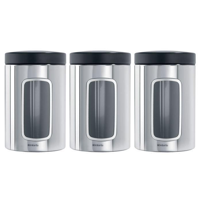 Набор контейнеров для сыпучих продуктов с окном (1,4 л), 3 шт., Стальной полированный, арт. 247286 - фото 1