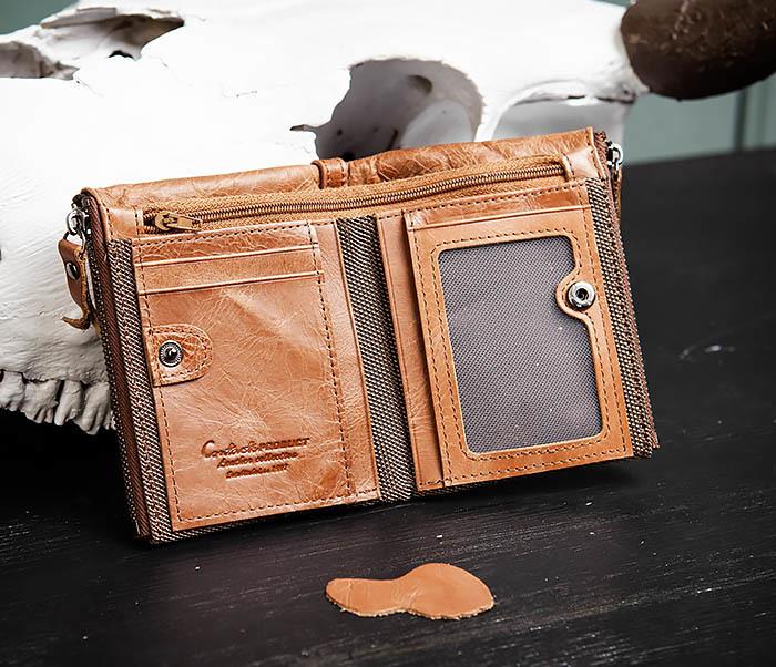 WL250-2 Винтажный мужской кошелек с монетницей на молнии фото 05