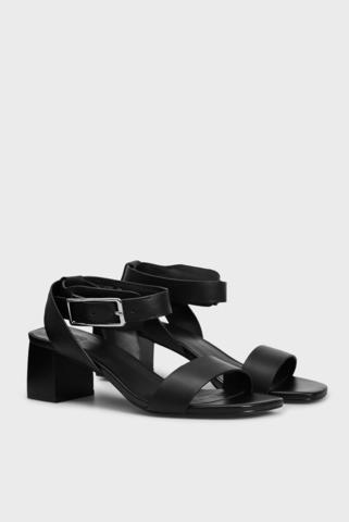 Женские черные кожаные босоножки Blanka PRPY